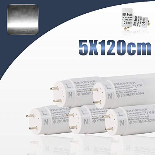 5x SBARTAR Tubes Fluorescentes LED T8 G13 Lumiéres fluorescentes 120cm, LED Lampes économiques de replacement 17W, Blanc Froid 6500k avec Starter Couverture Nano-Plastique