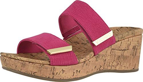Vionic Women's Atlantic Pepper Adjustable Platform Sandal - Ladies Wedge with Concealed Orthotic Arch Support Sorbet Ruched 8 M US