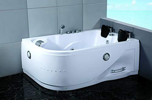 2 Person Whirlpool Massage Hydrotherapy White Corner Bathtub...
