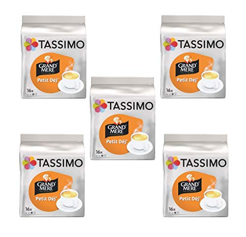 Grandmere Petit Dejeuner Coffee Pods for Tassimo , Large Cup Size - 16 T discs - (Pack of 5 - Total 80 Discs)