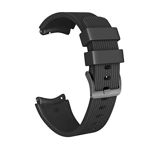 Armband für Huawei Watch GT, Silikon Sportarmband Uhrenarmband Erstatzband Ersetzerband Fitness Verstellbares Uhrenarmband Fitnessband Wristband Armbänder (Schwarz)