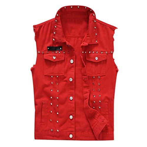 Overdose Chaqueta Jeans Chaleco Rock Chaqueta Vaquera Casual De Chaleco De Mezclilla Hombre En Blusa De Hombro Gótica Juvenil Hombre Rojo