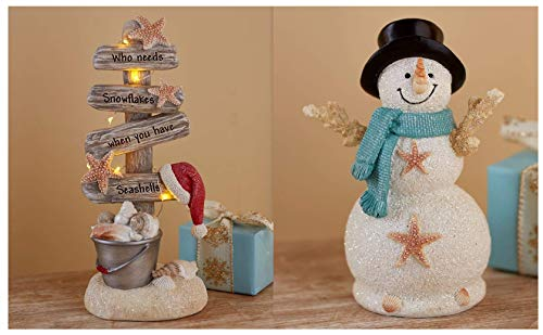 LTD Coastal Holiday Decor Collection Snowman Figurine & Lighted Christmas Tree Set Seaside Beach Idea