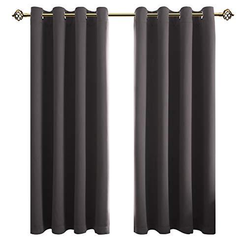 FLOWEROOM Blickdichte Gardinen Verdunkelungsvorhang - Lichtundurchlässige Vorhang mit Ösen für Schlafzimmer Geräuschreduzierung Grau 175x140cm(HxB), 2er Set