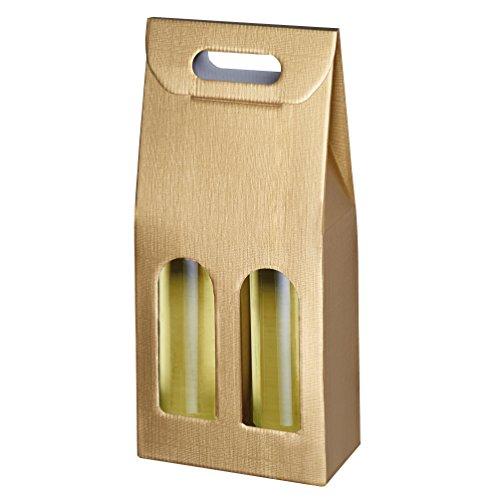 Susy Card 40000749 Tragekarton, Geschenkverpackungen Struktur gold, Wellpappe, für 2 Flaschen