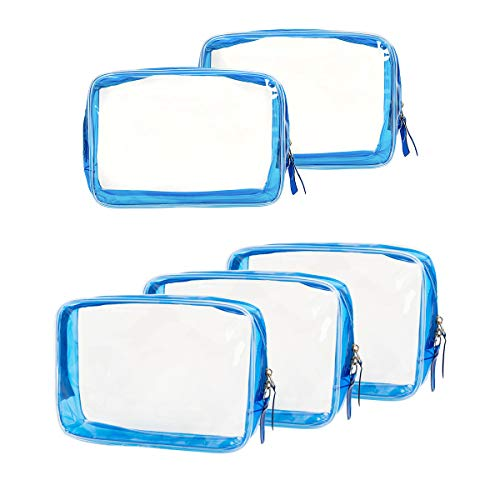 5 Pack Clear PVC Zippered Toiletry Carry Pouch Portable Cosmetic Makeup Bag for Vacation, Bathroom and Organizing (Small, Blue)