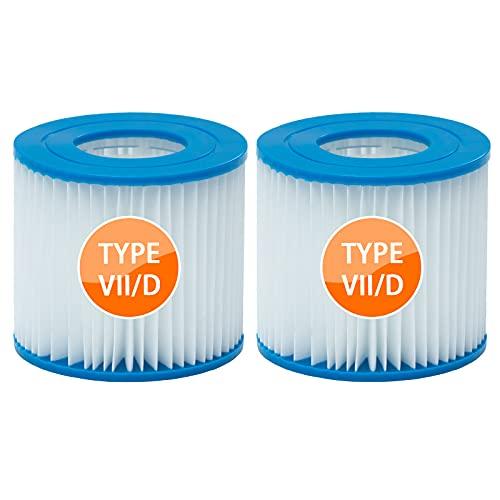 woejgo Filterkartusche Typ D Poolfilter Kartusch Größe VII Filterpatronen Kompatibel für Bestway, Whirlpoolfilterpatrone Ersatz für Schwimmbad-Spa-Filter, 2 Stück