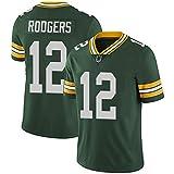 MARTIME Maillot de Football Uniforme de Compétition Homme, Packers 17 Adams 12 Rodgers 4 Favre, Maillots de Rugby T-Shirts, Rétro Unisexe-Adulte Confortable Respirant 12-S