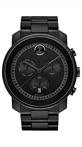 Movado Men's BOLD Large Metals Chronograph Watch with Printed Index Dial, Black (3600484)