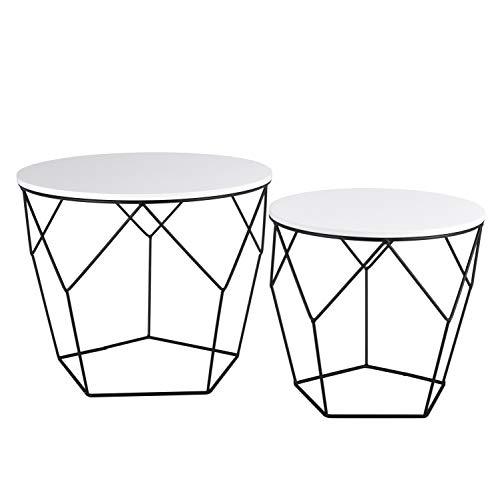 Ribelli Metalltisch schwarz – Holzplatte auf stabilem Metallgestell – Beistelltisch ideal für Wohnzimmer, Schlafzimmer, Büro und Co. – Zwei Tische im Set (weiß/schwarz)