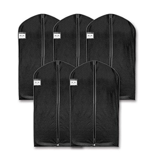 HangerMaster - Fundas de ropa para traje, 110 cm, funda protectora transpirable negra y bolsa – 5 unidades