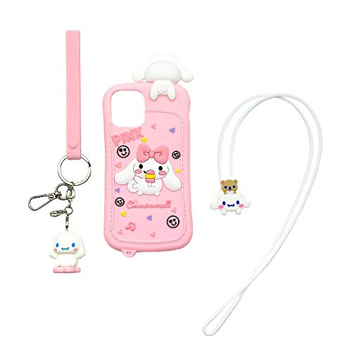 CaserBay for iPhone 12 Pro Max Case, 6.7-Inch, 3D Cute Cartoon Animal Cinnamoroll Character Soft Silicone Shockproof Rubber Case with Removable Lanyard & Keychain for Women Girl, Pink