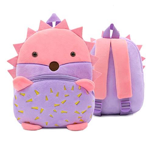 Ladyzone Toddler Backpack Zoo Animals Backpacks Cute Plush Bag Cartoon 10' Preschool Book Bag For 1-6 Years Girls Boys (Hedgehog)