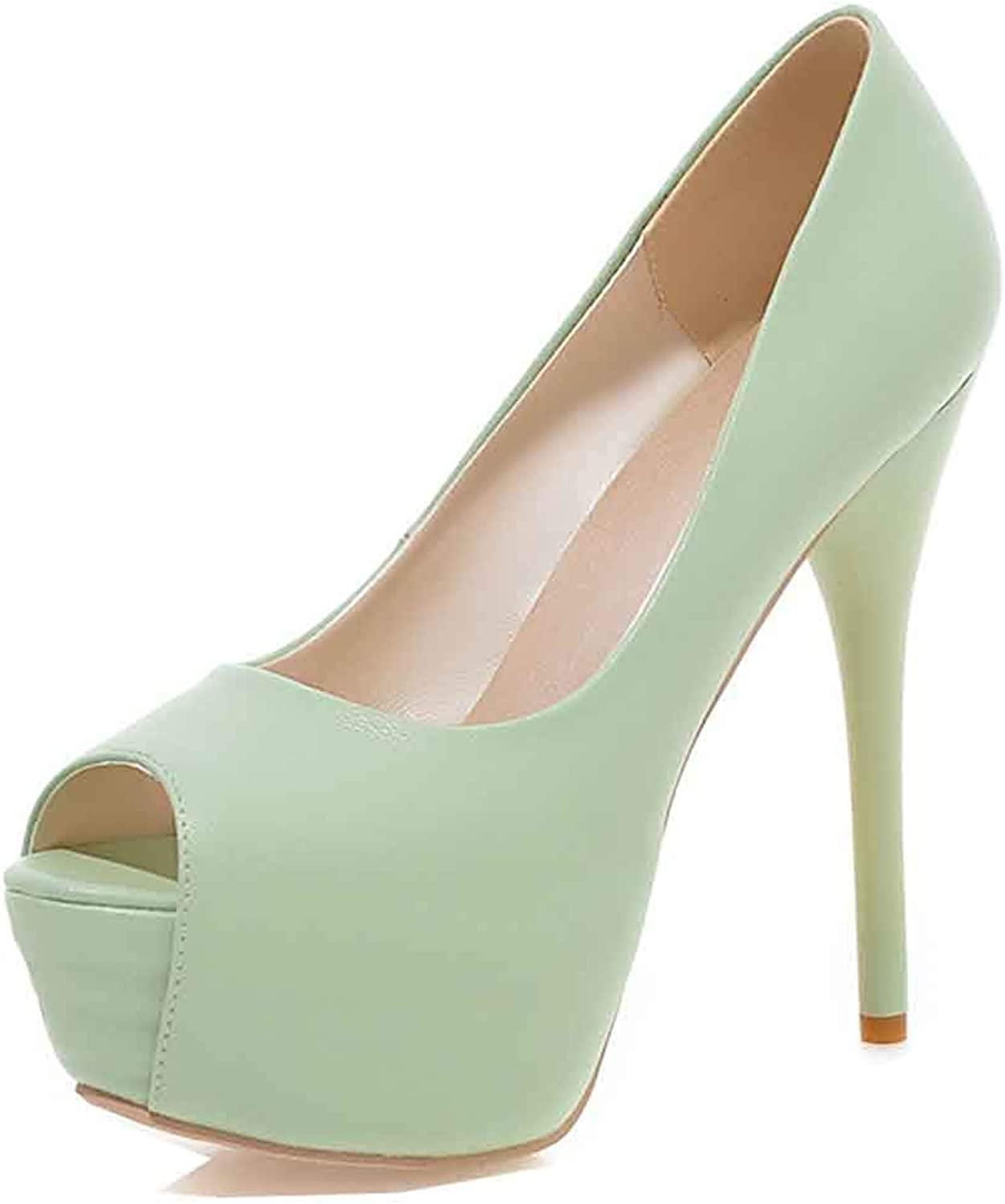Unm Women's Peep Toe Pumps with Platform - Sexy Slip On Low Cut Club - Party Stiletto Very High Heels