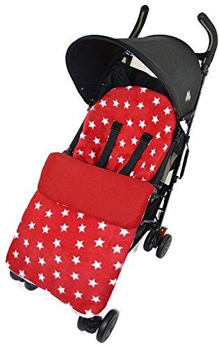 Fleece voetenzak/COSY TOES compatibel met Quinny kinderwagen Buzz Moodd Mura Zapp rood Star