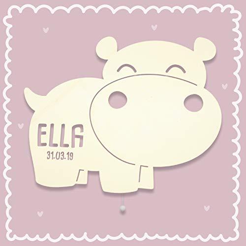 Schlummerlicht Nachtlampe mit Namen Nilpferd Hippo Stilllicht Personalisiert Kinderlicht kinderzimmer-lampe Nachtleuchte für Baby/Kind für Mädchen Jungen Nachtlicht [Energieklasse A++]