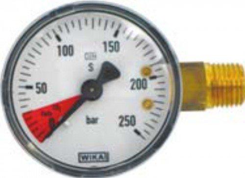 Inhaltsmanometer mit roten Bereich für CO2-Ende, 1/4' AG