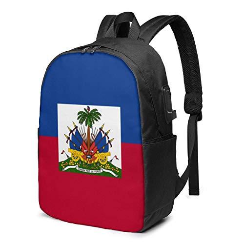 XCNGG Bandera de Haití Mochila para portátil de Viaje Mochila Escolar universitaria Mochila Informal con Puerto de Carga USB