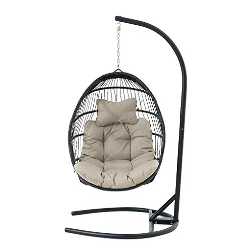 Wicker Rattan Swing Chair, Hanging Chair Wicker Swing Chair Cushion with Steel Support Frame Hanging Egg Basket Seat for Home - Round Bottom