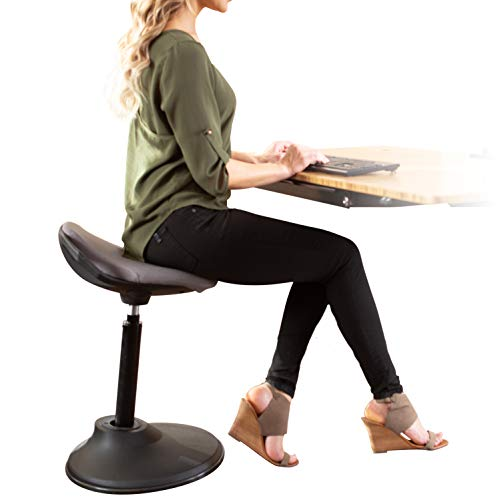 Uprite Ergo Active Stool Adjustable Height Chair for Desks & Workstations (Gray)
