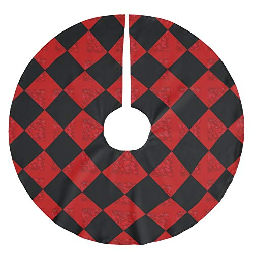 Viowr22iso Christmas Tree Skirt 122 cm, Black And Hombre Red Diamond Checker Pattern Large Xmas Tree Mat Farmhouse Christmas Decoration Tree Ornaments for Seasonal Holiday Party