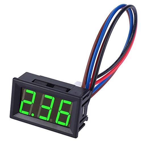 Amperímetro de corriente continua digital, mini panel LED de alta precisión con 2 cables 0-10 A (con protección contra sobrecorrientes) (Green)