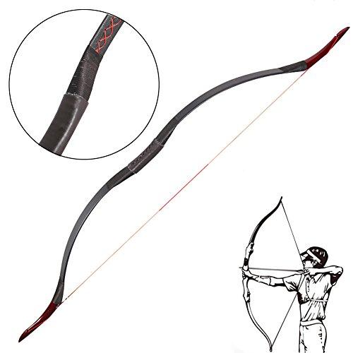 ZSHJG Arc Long Traditionnel /à la Main en Bois en Cuir Longbow 25-40 lbs Arc Recurve Tir a larc Arc de Chasse Arc /à la Main Mongole Pratique de tir /à larc