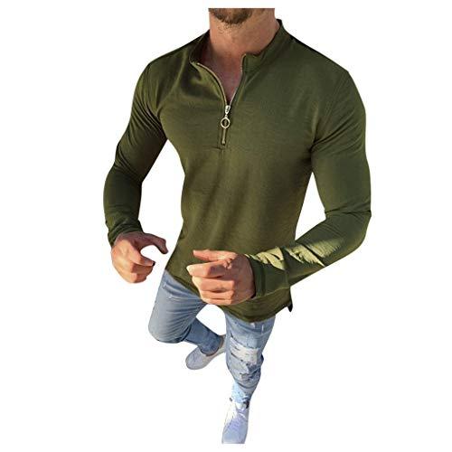 waotier Sudaderas sin Capucha Hombres Manga Larga Color sólido Botón Simple Cárdigan Cremallera Casual Slim Fit Blusa Shirt