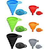 6 Pieces Silicone Collapsible Funnel, Small and Large Size, Food Grade Silicone Foldable Kitchen Funnel Flexible Narrow and Wide Mouth Funnels for Water Bottle Liquid Powder Transfer