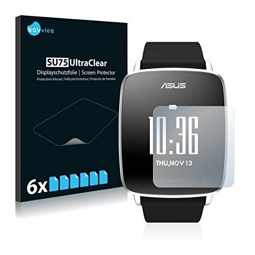 6x Savvies SU75 UltraClear Bildschirmschutz Schutzfolie für Asus Vivowatch (ultraklar, mühelosanzubringen)