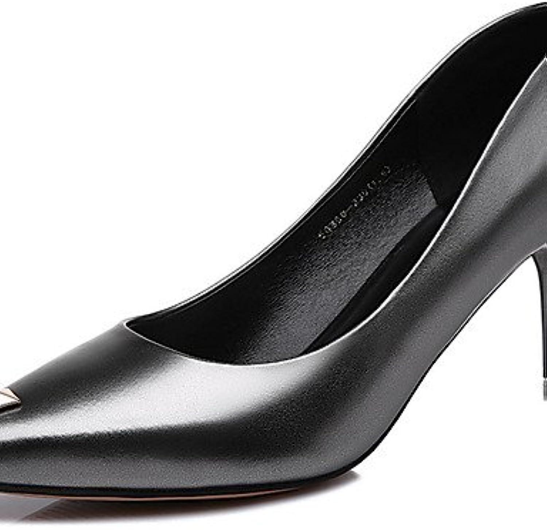 GGX  Damen-High Heels-Büro   Lässig-Lackleder-Stöckelabsatz-Absätze-Schwarz     Silber  af8484