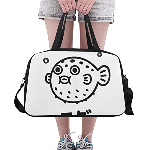 YYJH Sports Gym Bag Cute Ink Drawing Fugu Fish Name Travel Bags Duffle Bag Sports Fan Luggage Workout Fitness Handbag Overnight Shoulder Bag for Outdoor