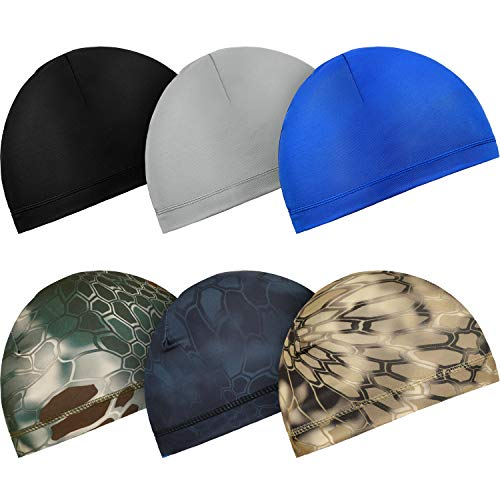 6 Pieces Cycling Skull Caps Running Sweat Wicking Hats Helmet Liner for Men and Women (Black, Grey, Dark Blue, Camouflage)