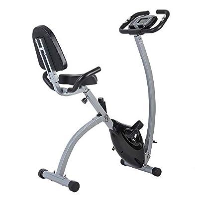 GOJOOASIS Folding Exercise Bike Magnetic Indoor Cycling Portable Stationary Upright X Bike w/Backrest