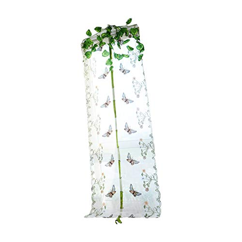 LOVIVER Butterfly Print Curtains Voile Sheer Window Roman Shade Blinds Rod Pocket - White, 0.8x1m