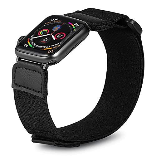 Elastic Armband Compatible with Apple Watch 42mm 44mm,iWatch Series SE/6/5/4/3 Strap ,Adjustable Sport Workout Nylon Women Men Replacement Arm or Ankle Band,heart rate monitor armband (Black)