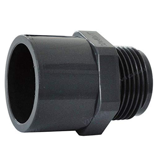 Plimat PVC Klebefitting 50 mm T-Stück Bogen Rohr Winkel Muffe Kappe Verschraubung (PVC Übergangsnippel 63/50mm x 1
