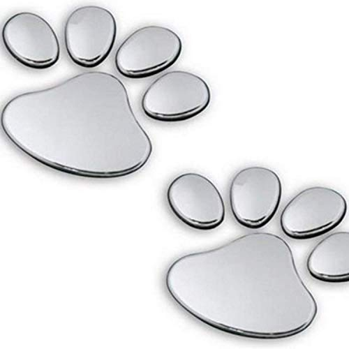2 Pair Credible Unique 3D Pets Paw Car Sticker Dog Foot Prints Truck Decor Animal Decal Cars Bumper Patches Decals Laptop Macbook Luggage Hoverboard Bike Graphics Window Wall Stickers Colors Silver