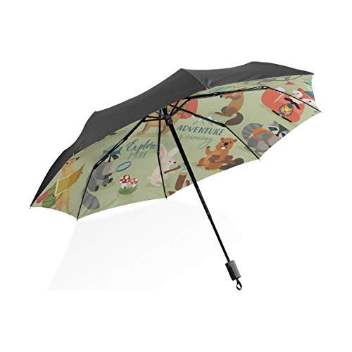 Riesen-Sonnenschirm Camping Tiere handgezeichneten Stil Motivation tragbare kompakte Taschenschirm Anti-Uv-Schutz Winddicht Outdoor-Reisen Frauen übergroßen Regenschirm
