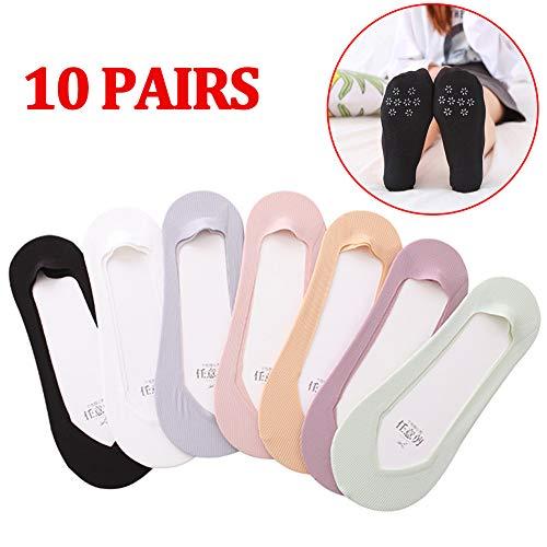 Jjwwhh 10 pares de calcetines de corte bajo para mujer, antideslizantes, de algodón y nailon, invisibles, invisibles, para mocasines y zapatos de barco, gris