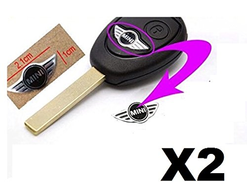 2 Pezzi Logo Chiave Telecomando Fregio Stemma Emblema Mini 21mm X 10mm Compatibile Logo Nero Metallo