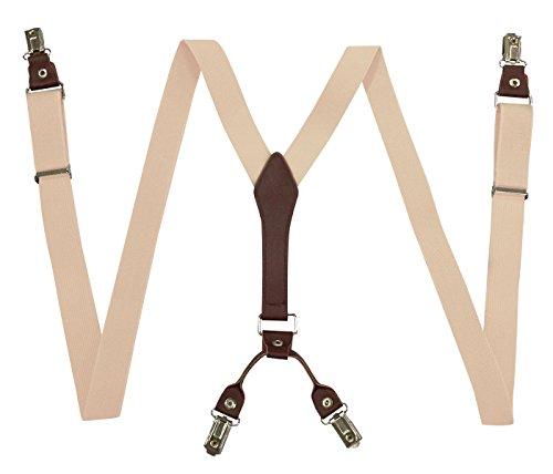 Panegy Unisex Y-Form 4 Clips Hosenträger Damen Herren Hoch Elastisch Hosenträger Längenverstellbar 2.5 * 105cm - Einfarbig Beige