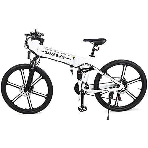 26 pollici mountain bike completamente - mountain bike biammortizzata con deragliatore - MTB bici da uomo e da donna con forcella ammortizzata, motoriduttore brushless ad alta velocità 48V500W,White
