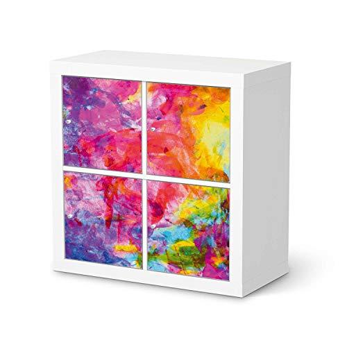 creatisto Möbeltattoo passend für IKEA Kallax Regal 4 Türen I Möbelaufkleber - Möbel-Folie Tattoo Sticker I Wohn Deko Ideen für Esszimmer, Wohnzimmer - Design: Abstract Watercolor