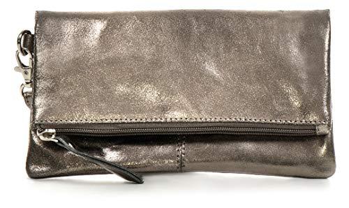 CNTMP, Damen Handtaschen, Clutch, Clutches, Clutchbags, Unterarmtaschen, Partybags, Trend-Bags, Metallic, Leder Tasche, Anthrazit, 21x11x2,5cm (B x H x T)