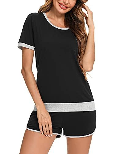 Irevial Chándal Conjunto Mujer Verano Conjunto Deporte Corto de 95% Algodón Camiseta Manga Corta y Pantalones Cortos Dos Piezas para Correr Yoga Fitness
