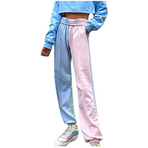 NINGSANJIN Damen Jogginganzug Sporthose Jogger Jogginghose Trainingshose Sommerhose Stretch Hose tie-dye Strandhose Sweatpants für Fitness Yoga (Pink, M)