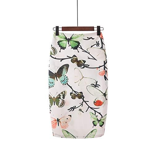 Zomer dames Chic bedrukt patroon taillerok sleuf rok achter wikkelrok modieuze figuur benadrukt potlood rok stretch