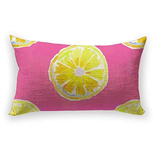 Hustor Funda de almohada de algodón y lino con fondo rosa, funda de almohada lumbar para sofá, cama, coche, 12 x 20 pulgadas