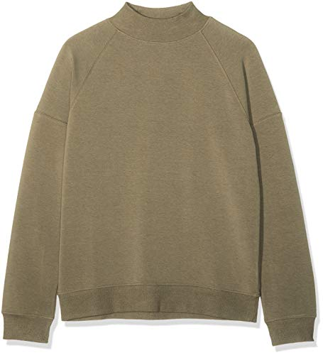 Marca Amazon - find. Soft Jersey High Neck Sudadera Mujer, Verde (Khaki), 44, Label: XL